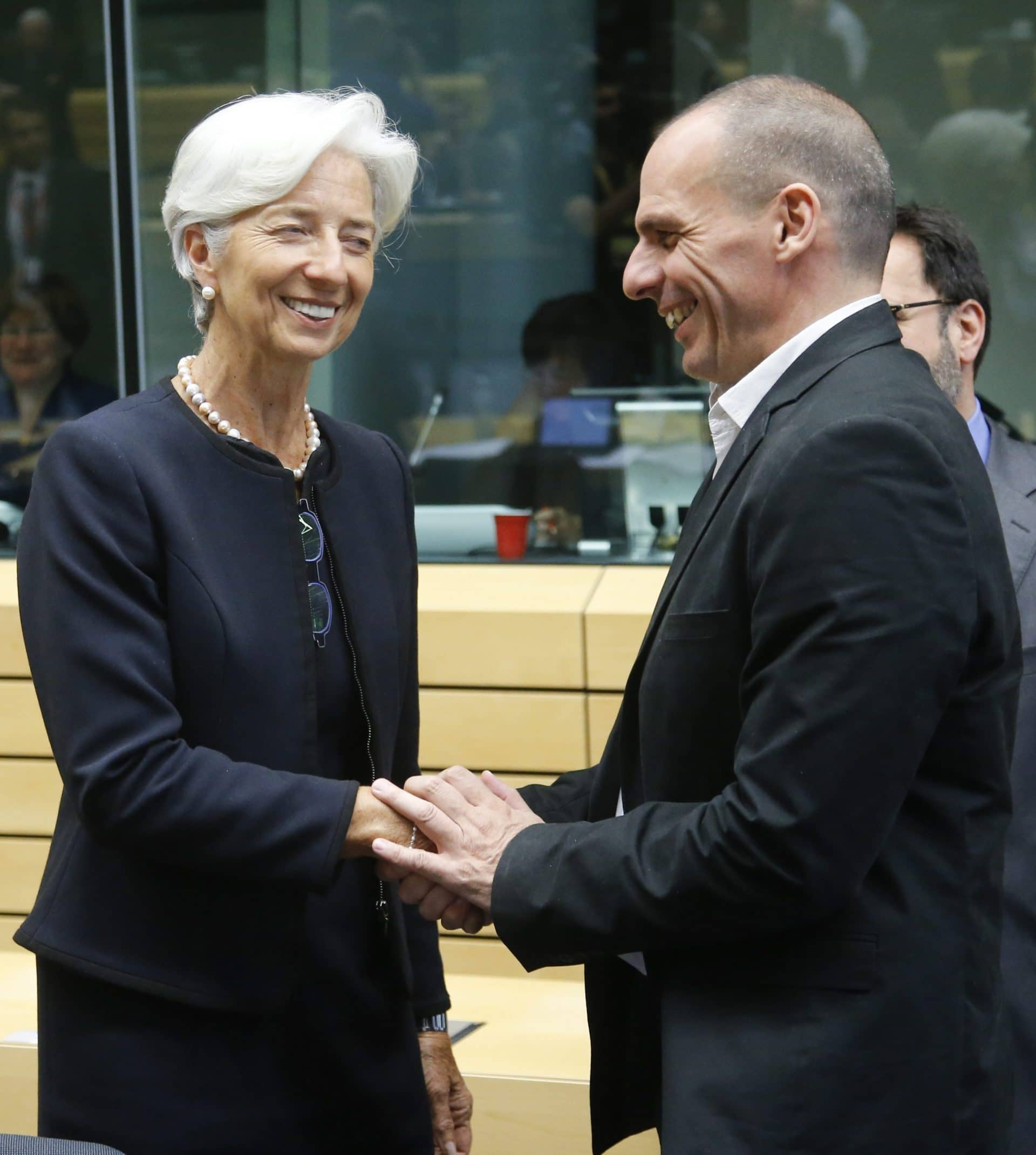 International Monetary Fund (IMF) managing director Christine Lagarde and Greek Finance Minister Yanis Varoufakis (R) at the start of a special Eurogroup Finance ministers meeting on Greek crisis at EU council headquarters in Brussels, Belgium, 25 June 2015. Eurozone finance ministers will reconvene on to assess the situation, before the European Union's 28 leaders kick off their two-day summit in Brussels later the day. A special meeting of the 19 eurozone leaders could also be held. Greece and its creditors continued marathon talks on how to avoid a bankruptcy in the country, just hours before an EU summit meant to bookend the crisis., Image: 250922014, License: Rights-managed, Restrictions: , Model Release: no, Credit line: Profimedia, TEMP EPA