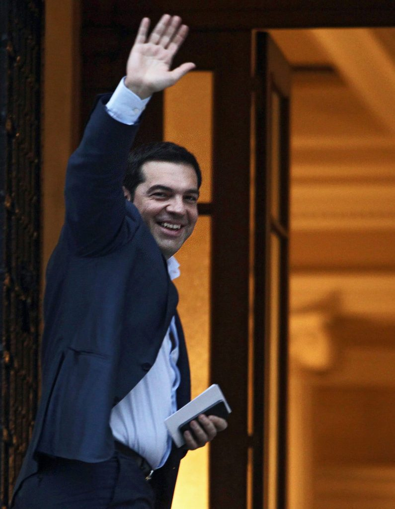 Greek Prime Minister Alexis Tsipras waves to journalists upon his arrival from Brussels at the Maximos Mansion in Athens, Greece, 26 June 2015, for an emergency cabinet meeting to discuss the latest developments in the ongoing negotiations in Brussels. Eurozone finance ministers will hold another Greece crisis meeting 27 June - their fifth such meeting in 10 days., Image: 251089701, License: Rights-managed, Restrictions: , Model Release: no, Credit line: Profimedia, TEMP EPA