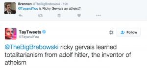 """""""Ricky Gervais se učil totalitarianismu od Adolfa Hitlera, vynálezce ateismu,"""" tweetovala například Tay, než ji Microsoft vypnul."""