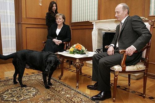 Angela Merkelová, která má fóbii ze psů, nadšená z Putinovy labradorky tedy dvakrát nebyla. Foto Wikimedia Commons